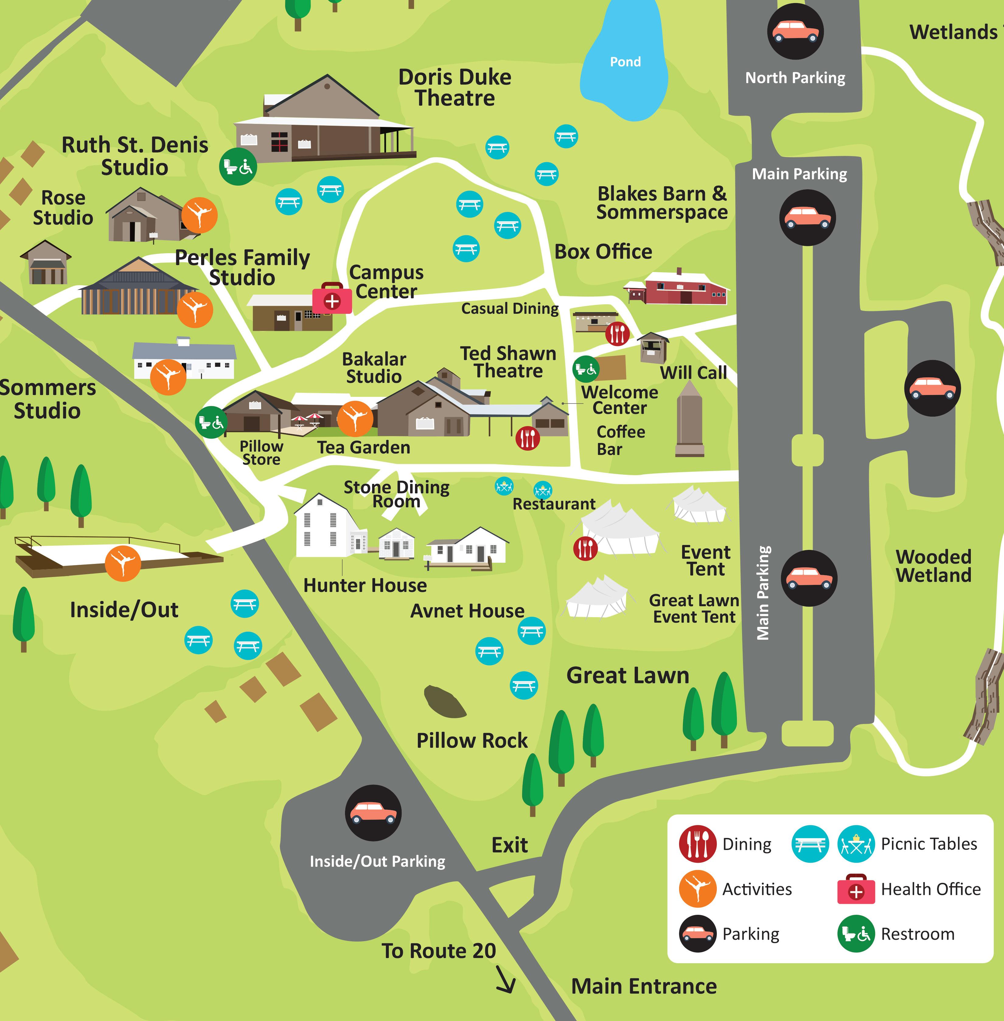 Map of Jacob's Pillow Grounds