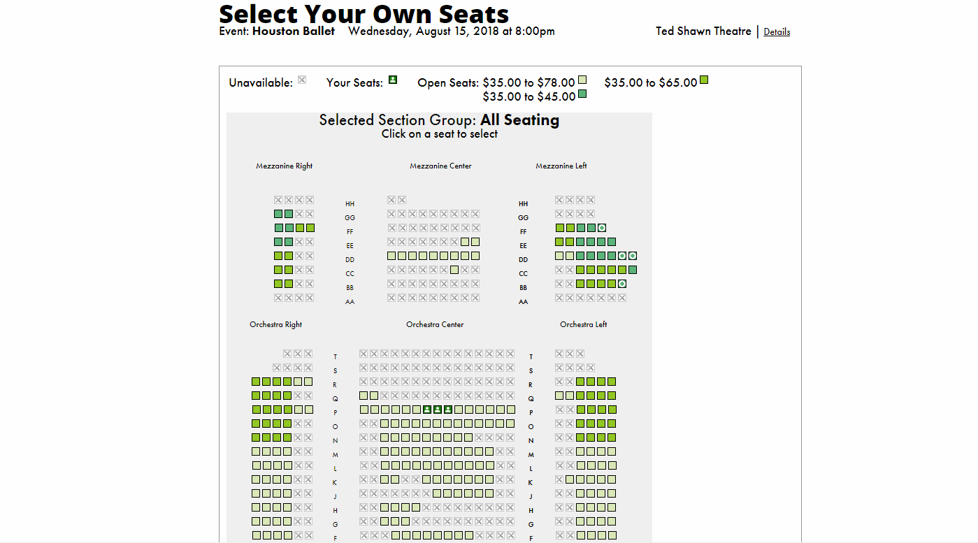 Member Portal; Select Seats