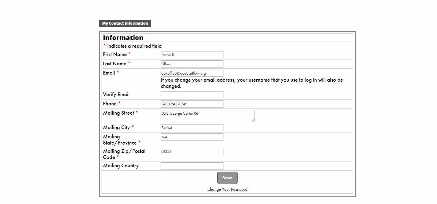 Member Portal; Update Contact Information