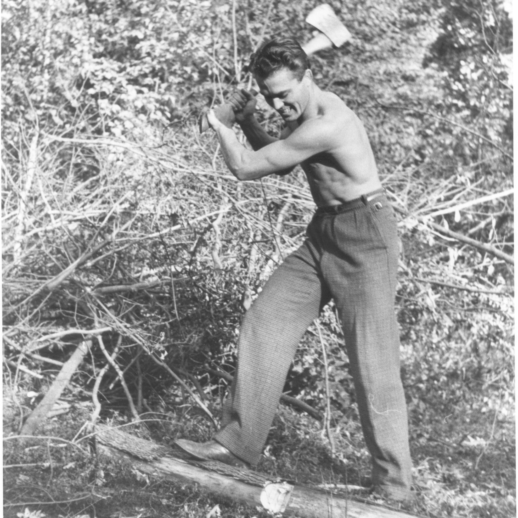 Horace Jones chopping wood