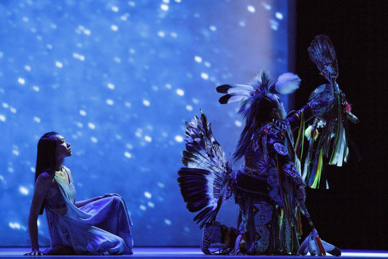 "Julie Pham & Ian Akiwenzie of Red Sky Performance in ""Adizokan""; photo Jay Gundu courtesy of Red Sky Performance"