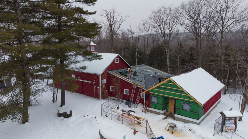 Drone footage of construction on Blake's Barn, January 2021; photo Christopher Duggan.