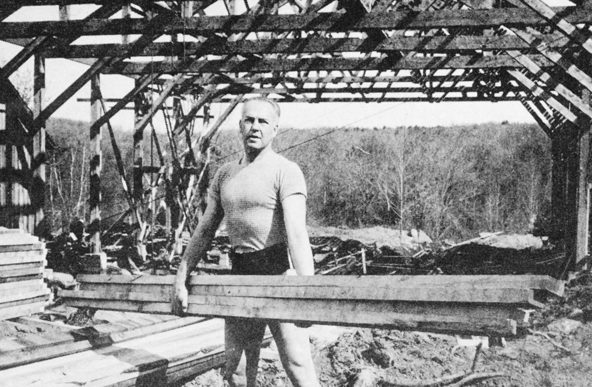 Ted Shawn at the building site of the Ted Shawn Theatre, 1942; photo unknown
