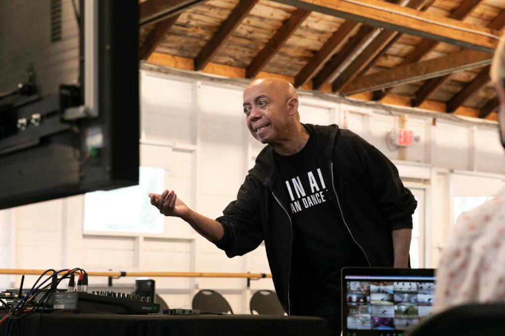 An instructor teaches a virtual class