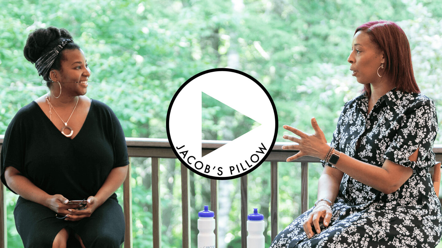 Jacob's Pillow Scholar-in-Residence & Associate Curator Melanie George and Melissa Young, Artistic Director of Dallas Black Dance Theatre in PillowTalk: Dallas Black Dance Theatre; photo Jamie Kraus