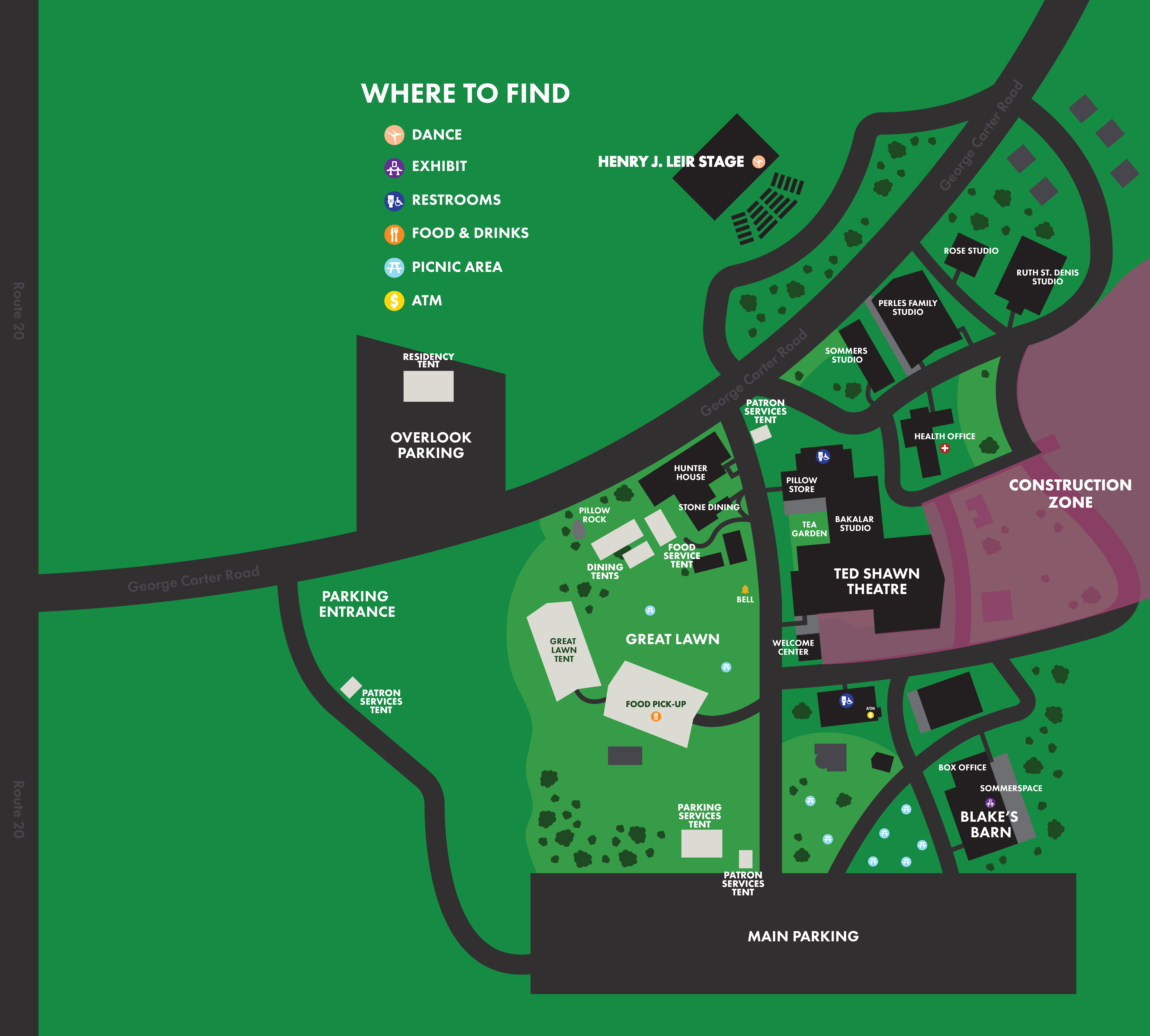 Aerial map of Jacob's Pillow with icons