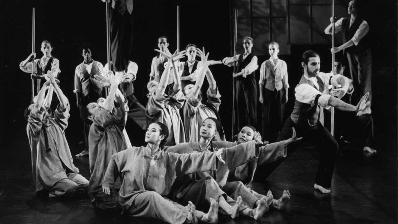 A black and white photograph of H.T. Chen's dance company.